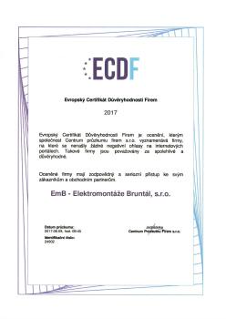 Evropský certifikát důvěryhodnosti firmy